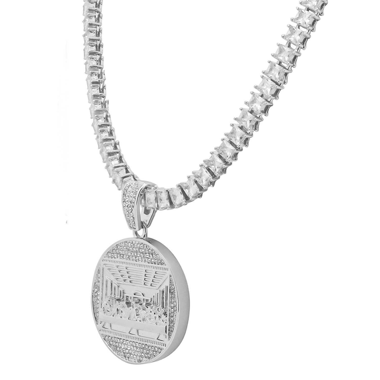 White Gold-Tone Iced Out Hip Hop Bling The Last Supper Pendant 1 Row Square Cubic Zirconia Princess Cut Stones Tennis Chain 20 Necklace Choker Chain