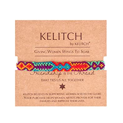 59d11446feb Amazon.com: KELITCH Woven Braided Friendship Bracelet for Women Handmade  Wrap Bracelet Adjustable: Jewelry