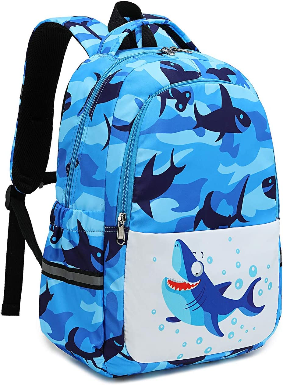 Kids Backpack for Boys Preschool Backpack Kindergarten Bookbag Nursery Daycare Elementary (Shark - blue)