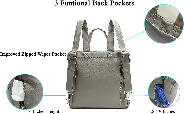 Bolso de viaje para pa/ñales de piel con cambiador bolsillo isot/érmico y gancho para el cochecito  gris Miss Fong