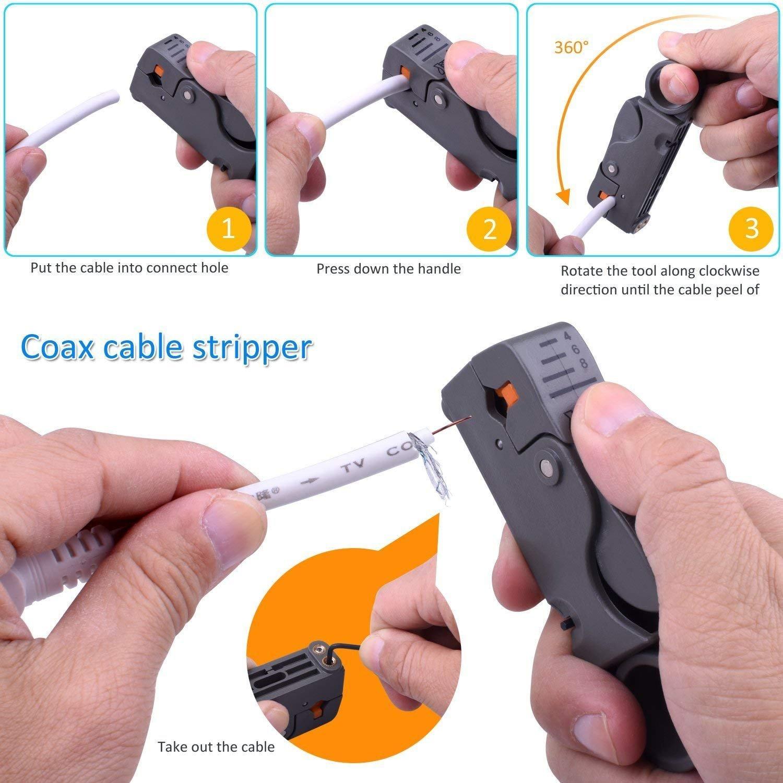 youtoo Compresión Alicate Kit herramienta Crimpadora pelacables doble Cuchillas Cable Coaxial Stripper RG59 RG6 con compresión de 20 unidades de conectores ...