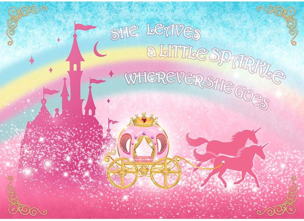 Allenjoy 5x3ft Princesses Backdrop Castle Carriage Princess 1st Birthday Backdrop Pink Sparkling Disney Princess Backdrop for Birthday Party