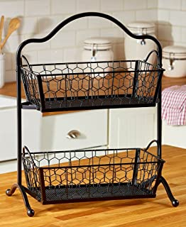The Lakeside Collection 2 Tier Storage Baskets  Black