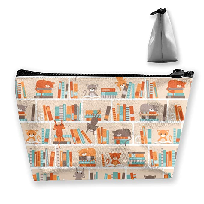 04b1f5822e5c Amazon.com: Cosmetic Bag Library Cats Travel Makeup Portable Travel ...