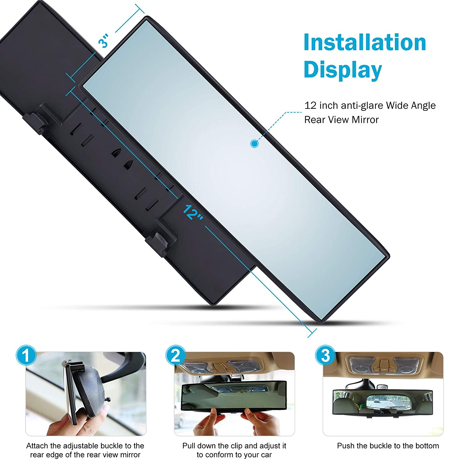 For use in Car Universal 12 Inch Interior Clip On Panoramic Rearview Mirror Truck Clear Tint Wide Angle SUV