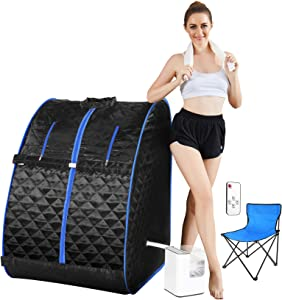 Mauccau Portable Sauna for Home, Personal Steam Sauna Spa for Weight Loss Detox Relaxation, 2.5L Sauna Tent with Foldable Chair Timer Remote Control (Blue)