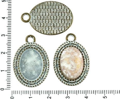 4pcs czech patina antique bronze tone oval pendant bezel cabochon settings blank