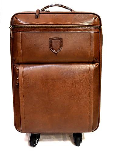 Bolso de viaje de cuero trolley cuero marron bolso con