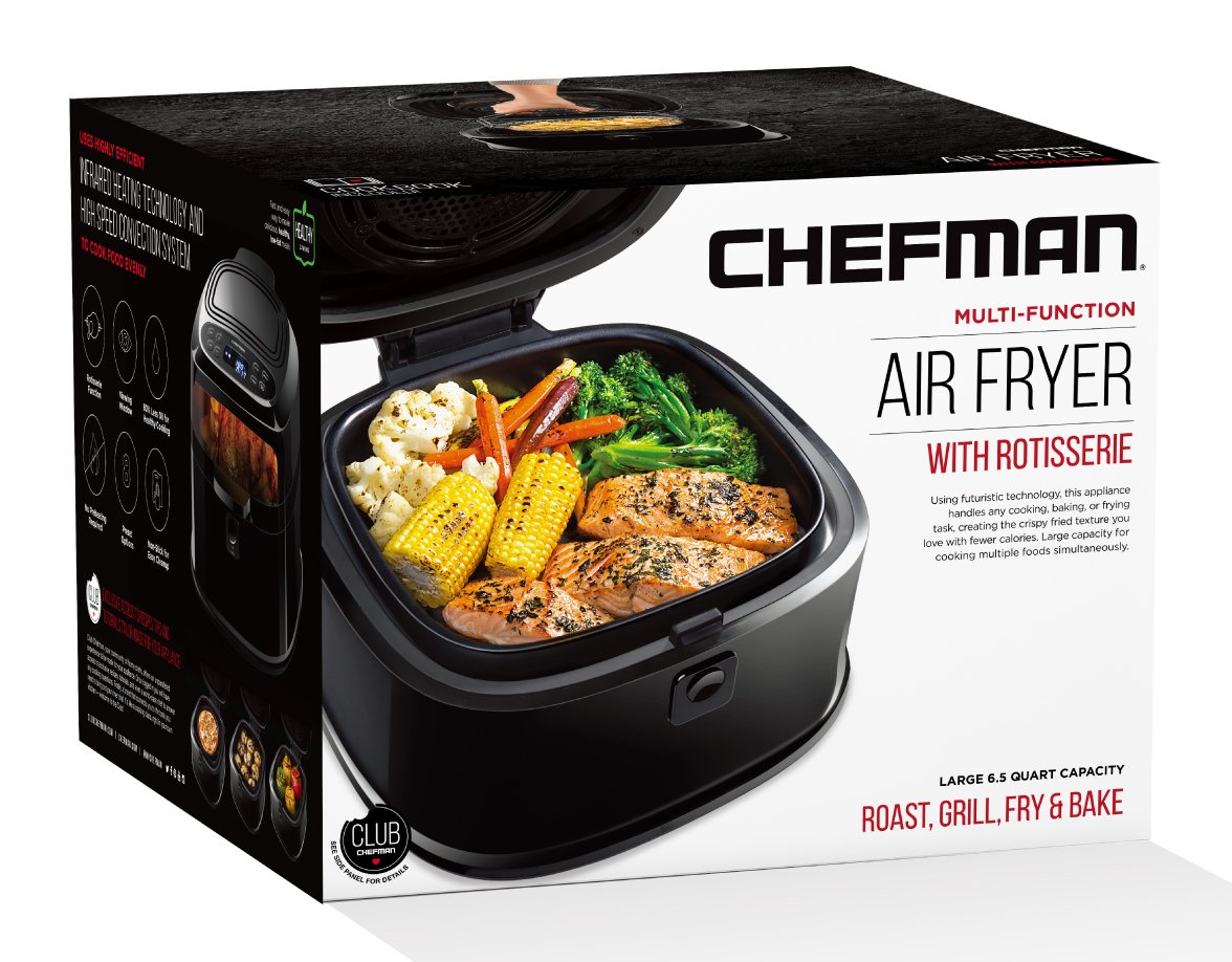 Chefman 6.5 Liter/6.8 Quart Fryer Function for The Perfect Fried Food Rotisserie Oven Oil Programmable Air Roaster w/Cool-Touch Exterior, BPA Free, Rack & Frying Pan Accessories, 1200 Watt