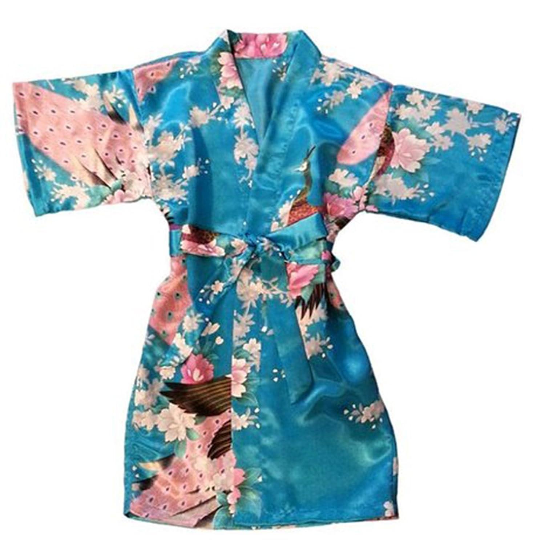 LQZ TM Femme y Peignoir Kimono Soie Satin Courte Paon Fleur