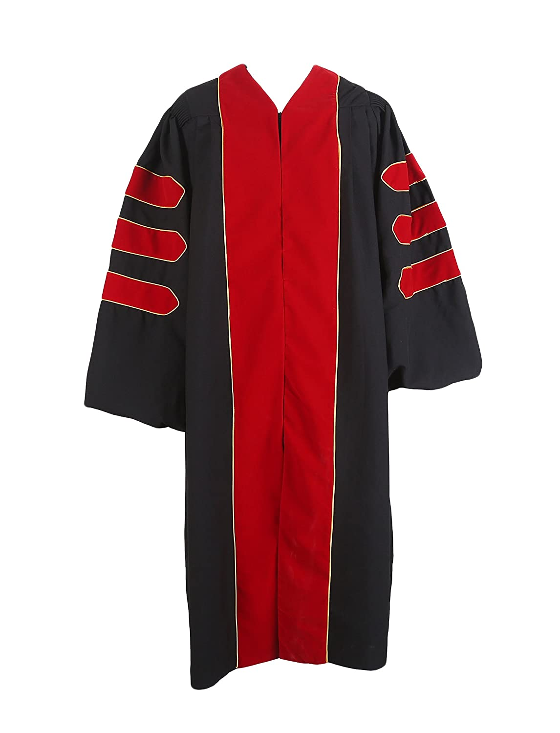 GraduationService Deluxe Doctoral Graduation Gown With Gold Piping Unisex