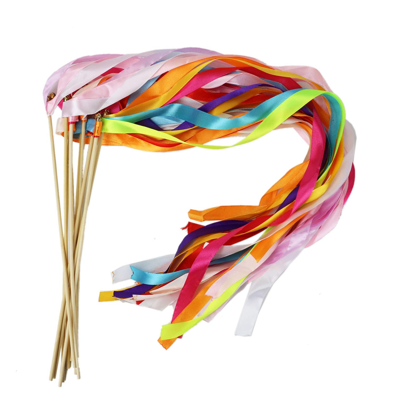 HUELE 10 Pcs Ribbon Wands Chromatic Silk Ribbon with Bells Fairy Stick Wish Wands for Wedding Party (Mix Color)