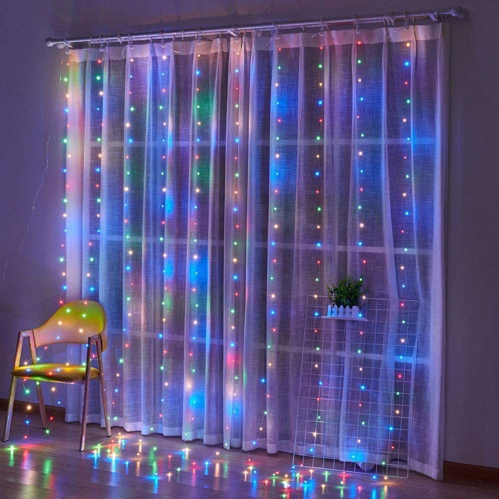Honche Led Curtain String Lights USB with Remote for Bedroom Wedding (Multi Color)
