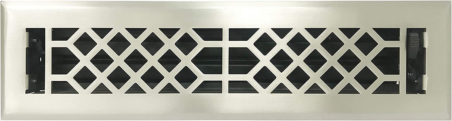 Empire Register Co, Antique Style Design, Brushed Nickel Finish, Heavy Duty Floor Register. Floor Vent Covers Size - 2 x 12 inch, Overall Face Size - 3.5 x 13.5 inch.