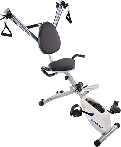 Stamina Exercise Bike and Strength System, White Blue