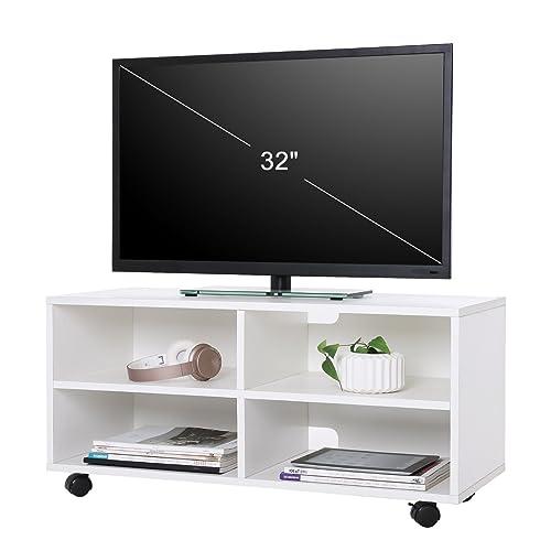 SONGMICS Mueble para TV con 4 Compartimentos y Ruedas, Mesa Baja para TV, Mueble para televisor, Disco Duro, para Comedor, Blanco LTC02WT
