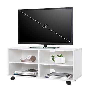 Schon VASAGLE TV Schrank, Fernsehschrank Mit 4 Fächern Und Rollen, TV Board  Offenes Lowboard