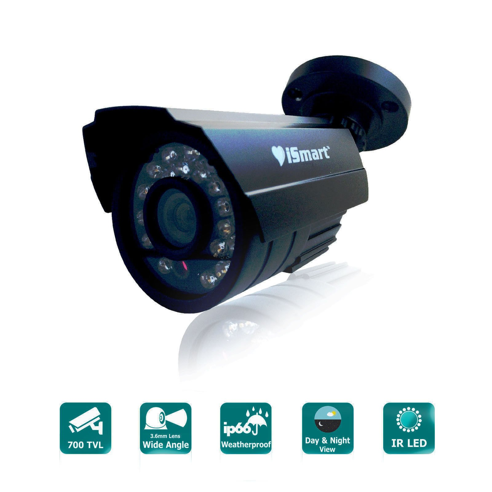 iSmart 700TVL IP66 CCTV Home Surveillance Weatherproof 3.6mm Lens with IR Cut Bullet Security Camera 24PCS Infrared LEDs, 60ft IR Distance, Aluminum Metal Housing (Black) C1030DP7