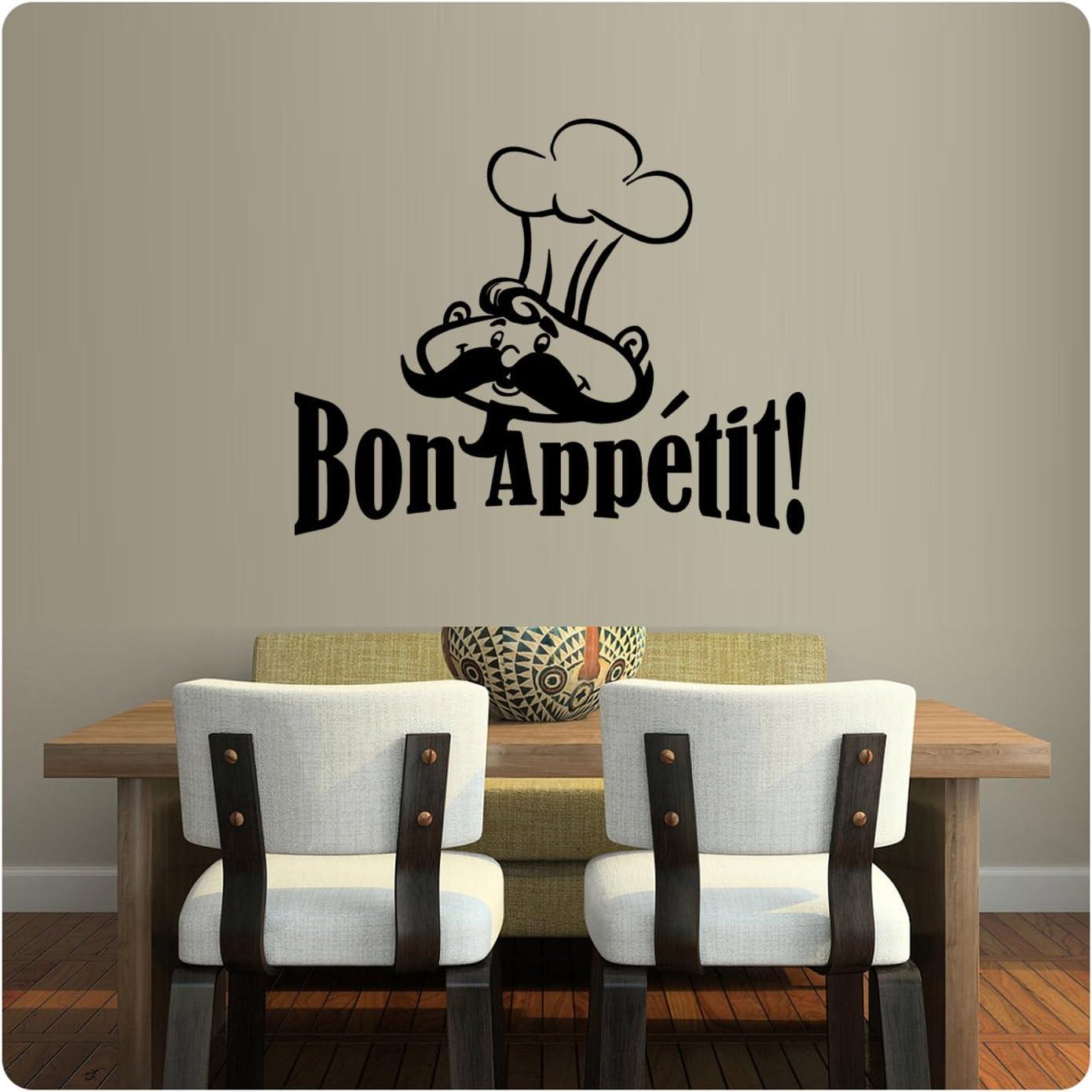 Huhome PVC Wall Stickers Wallpaper English Bon Appetit Bon Appetit French Kitche