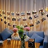 JZK® 5 metri stringa lucine luci LED filo catena di mollette portafoto per appendere foto, istantanea, cartoline, promemoria, matrimonio compleanno festa battesimo nascita comunione laurea San Valentino Natale stanza decorazioni accessori, bianco caldo