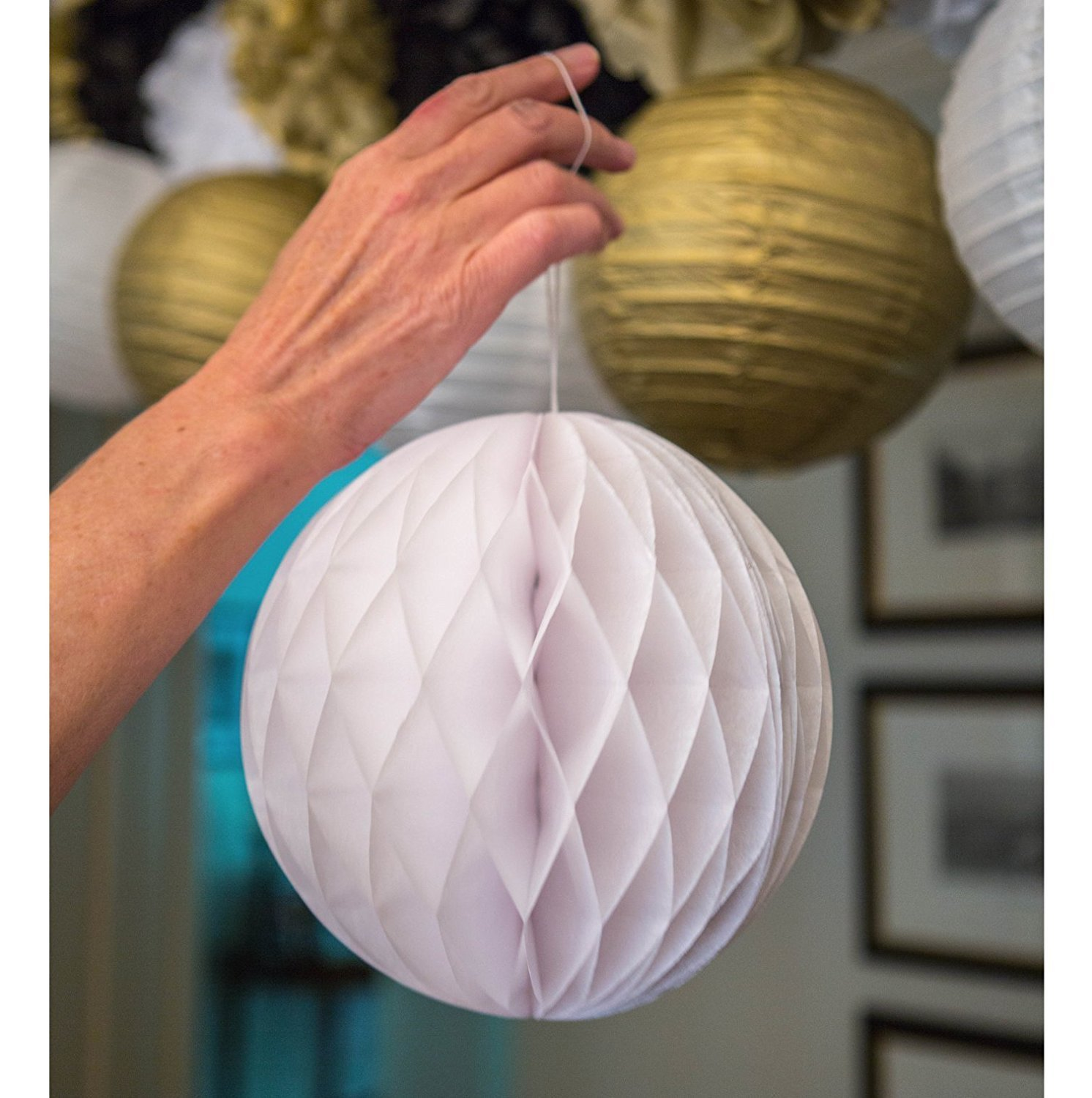Sopeace 17 PCS 8'' 10'' Lavender Purple Pink White Tissue Paper Pom Pom Flowers and Paper Lanterns Party Decoration by Sopeace (Image #3)