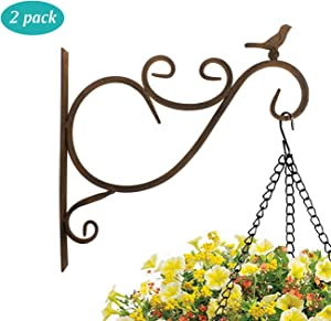 Lewondr Wall Hanging Plants Bracket, 2 Pieces 12-inch Retro Bird Wrought Iron Hanging Flower Decorative Hooks Rack Wall Bracket for Plant Basket Lanterns with Screws, Garden Balcony Outdoor Décor