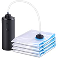HAWATOUR Travel Vacuum Storage Bags with Electric Pump 2 Large & 2 Medium Space Saver Bags