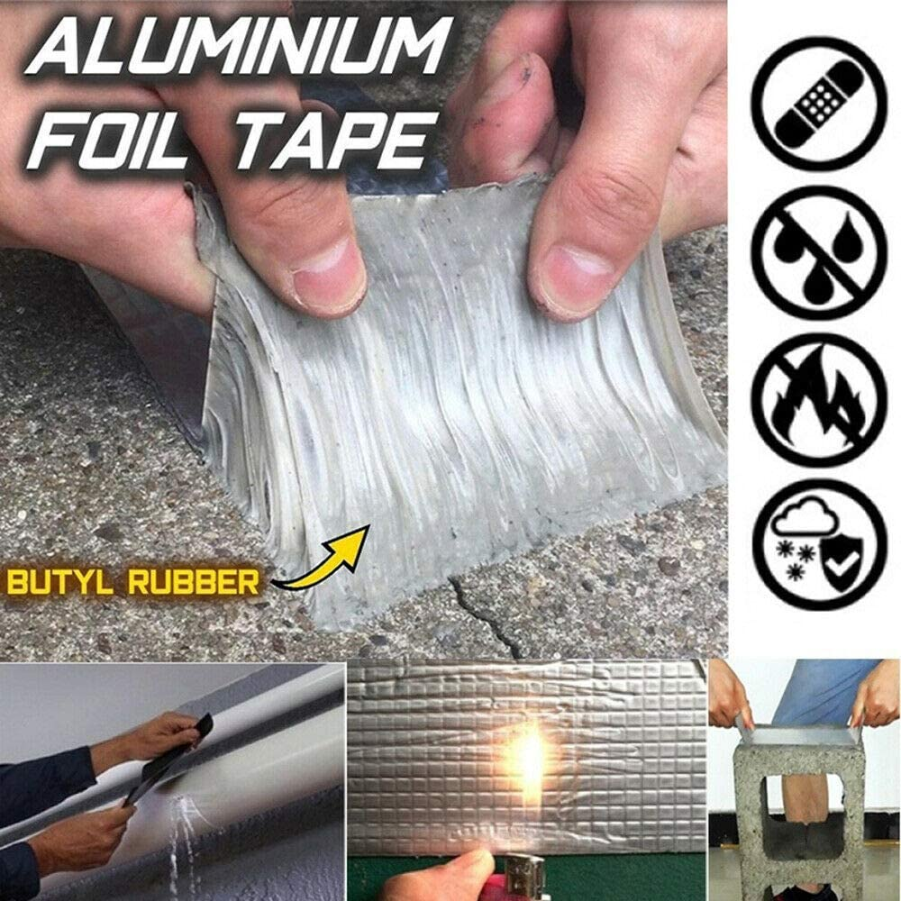 Powerful Magical Repair Tape - Super Strong Waterproof Tape Butyl Seal Rubber Aluminum Foil Tape for Repairing Roof Crack, Gutter,Pipe and Duct (15cm*5m)