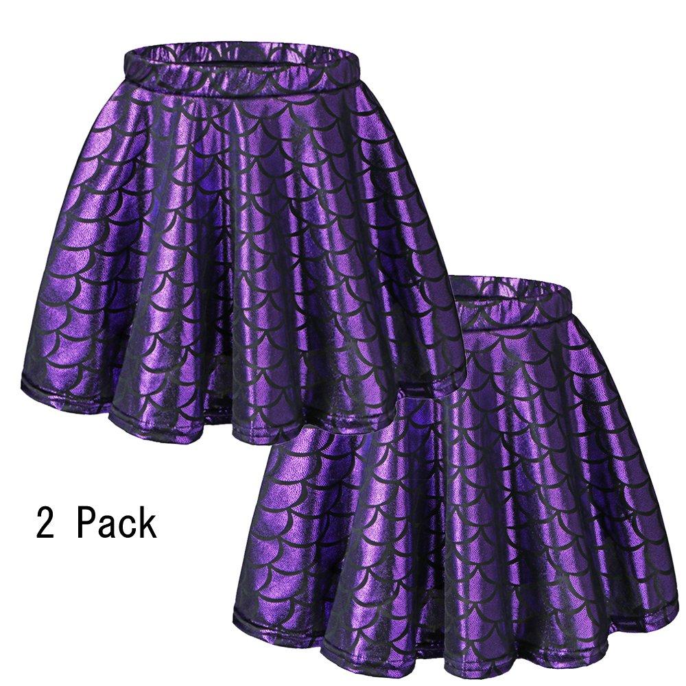 BAOHULU Girls Skirt Fish Scale Dress up Costumes Purple,L 2Pack by BAOHULU