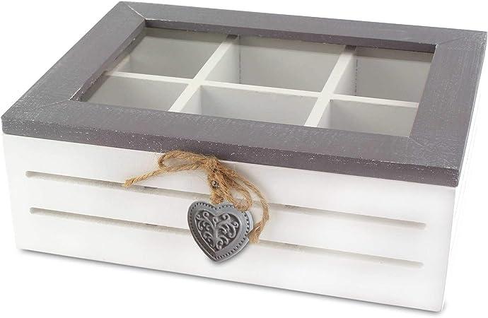 MC-Trend - Caja para Bolsas de té (6 Compartimentos, Madera y Cristal), Vintage: Amazon.es: Hogar