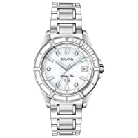 Ladies' Marine Star Quartz Watch in Stainless Steel with Diamonds, Silver and White Enamel, 96P201