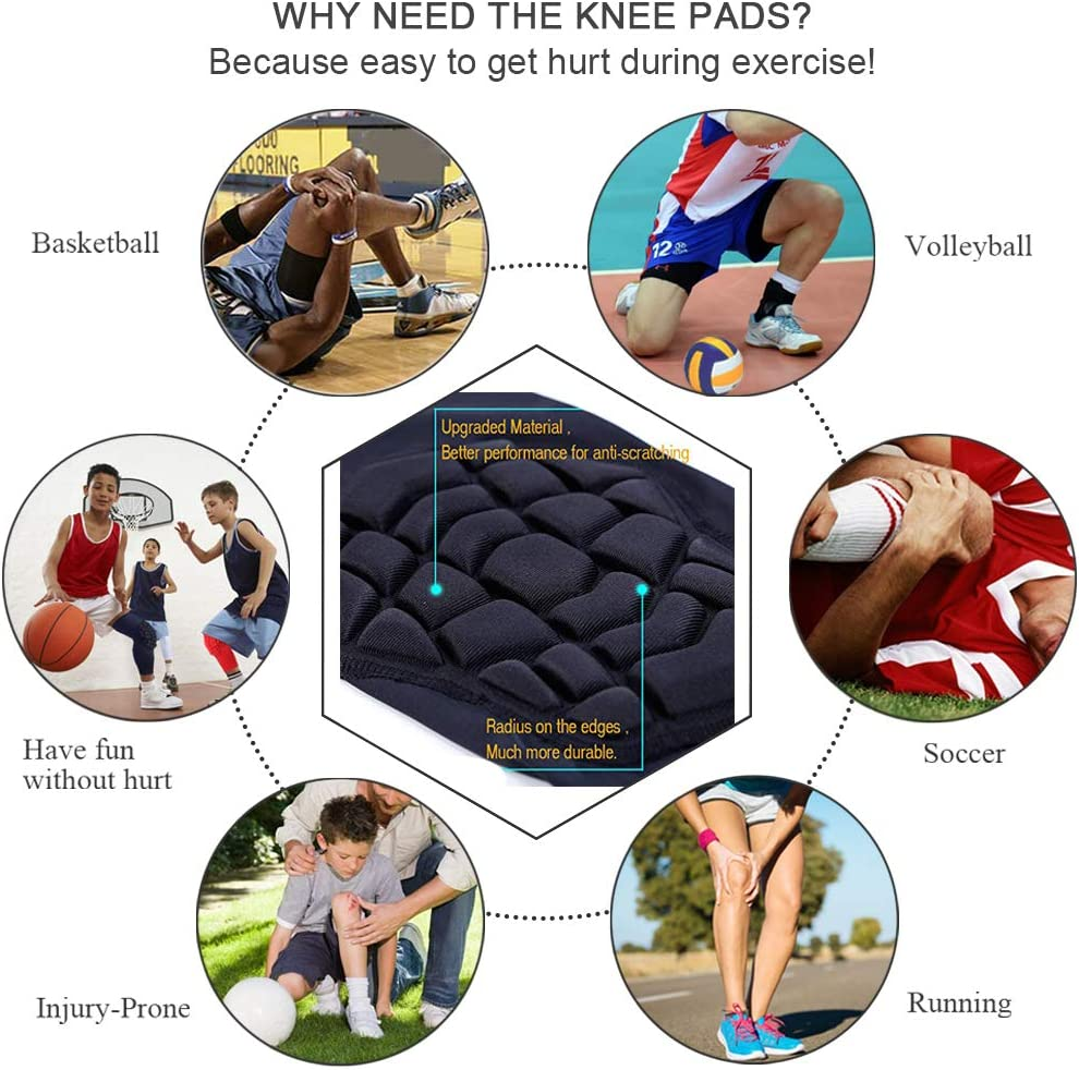 1 Pair of Knee Sleeves Paded ZODEYI Knee Pads Knee Compression Sleeve for Basketball Volleyball Protector Gear