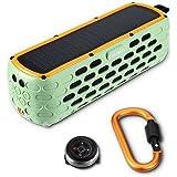 Altoparlante a energia solare Bluetooth PRUNUS™ T-63 (versione aggiornata), oltre 35 ore di riproduzione, speaker musicale portatile stereo adatto per uso esterno, impermeabilità IPX65, resistente alla polvere e alle cadute da 2 metri. Resistenza agli spruzzi d'acqua con torcia di emergenza