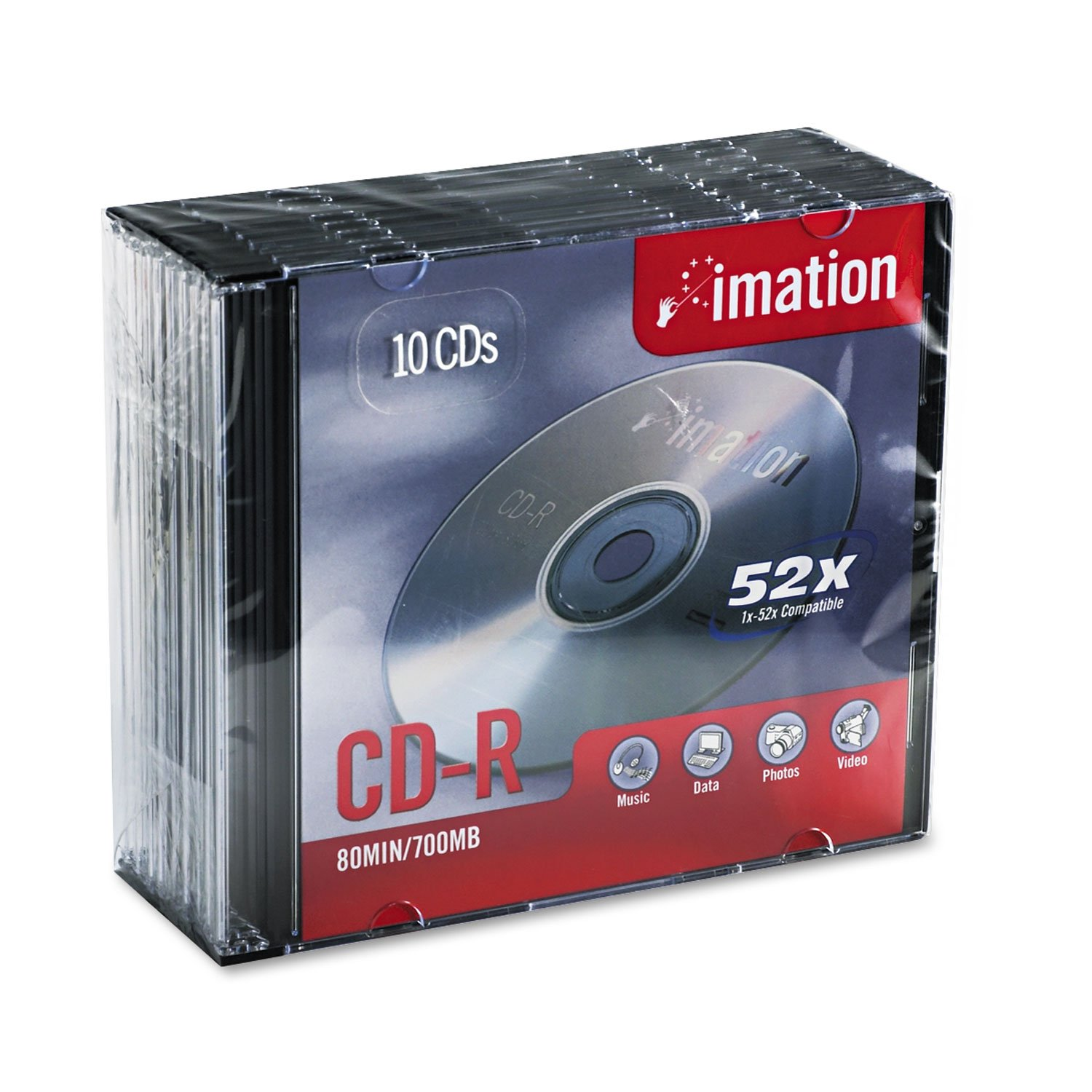 Imation IMN17332 CD Recordable Media, CD-R, 52x, 700 MB, 10 Pack Jewel Case S.P. Richards Company