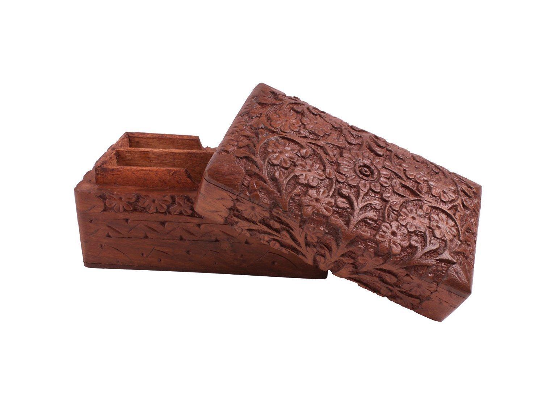 festa della mamma colore marrone giorno di Pasqua 5 Scatola porta carte da gioco ponte in legno con 2 cassetti porta carte regalo del Venerd/ì Santo