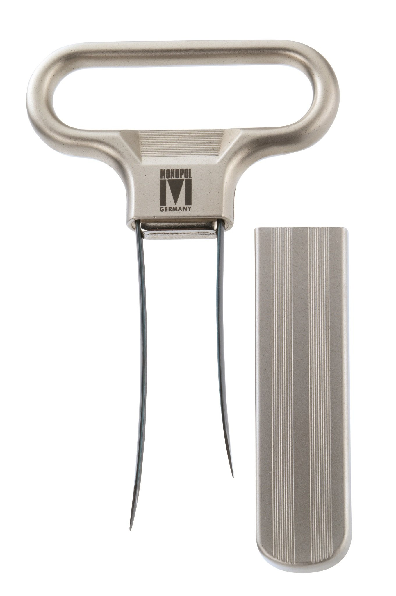 Monopol Westmark Germany Steel Two-Prong Cork Puller with Cover (Silver Satin) by MONOPOL Germany
