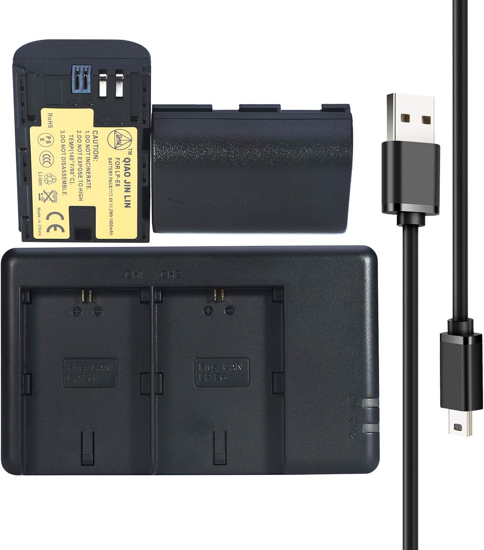 QIAOJINLIN 2 Pack LP-E6 LP-E6n Batería + Quick Dual USB Cargador para Canon 5D Mark II III y IV,70D,80D,5Ds,6D,5Ds,80D,7D,60D,5Ds R DSLR Cámaras BG-E14,BG-E13,BG-E11,BG-E9,BG-E7,BG-E6 Grips: Amazon.es: Electrónica