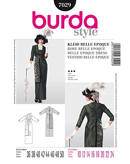 Burda Style Pattern 7029 Historical Belle Epoque Dress, Size: 10-24 (36