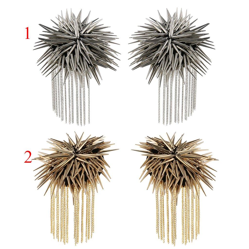Baosity 1 Pair Metal Cloth Silver Gold Chain Tassel Brooch Epaulet Shoulder Board Mark Punk - Silver by Baosity (Image #4)