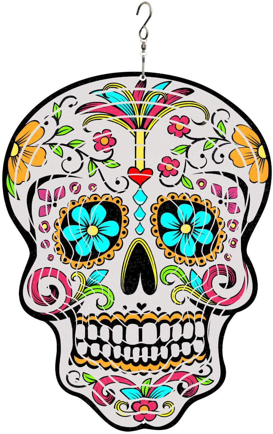 SEA or STAR Sugar Skull Stainless Steel 3D Wind Spinner for Outdoor and Indoor Unique Decoration for Garden and Home