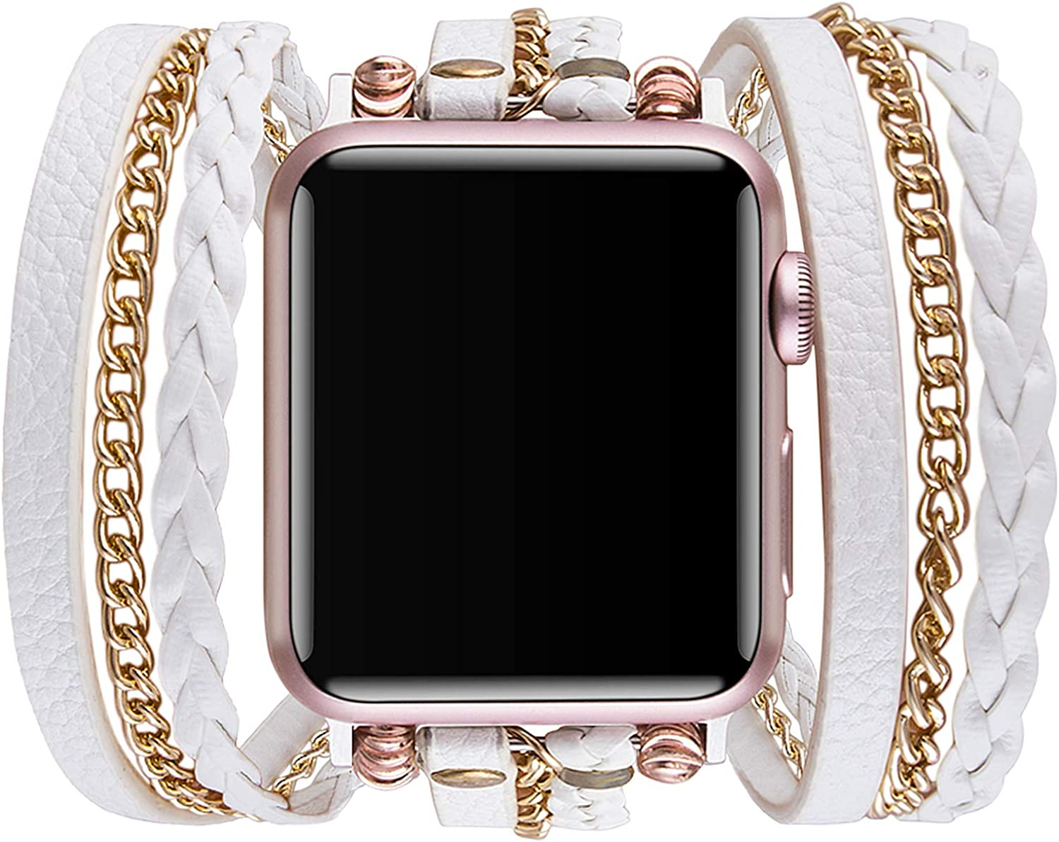 Vikoros Bracelet Bands Compatible with Apple Watch Band 44mm 42mm 40mm 38mm, Leather Dressy Strap Replacement Compatible with iWatch Series 5 4 3 2 Sports&Edition Wristbands for Women