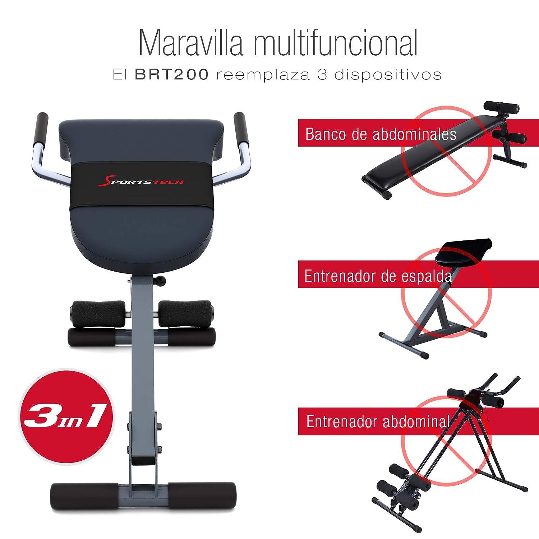 Sportstech BRT200 Entrenador de Espalda y Abdomen 3en1 Patentado Propio con Innovador diseño Antideslizante; Plegable; Multifuncional con Acolchado ...