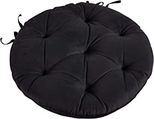 Big Hippo Chair Pads with Ties, Soft 17-Inch Round Thicken Chair Pads Seat Cushion Pillow for Garden Patio Home Kitchen Office or Car Sitting(Black)