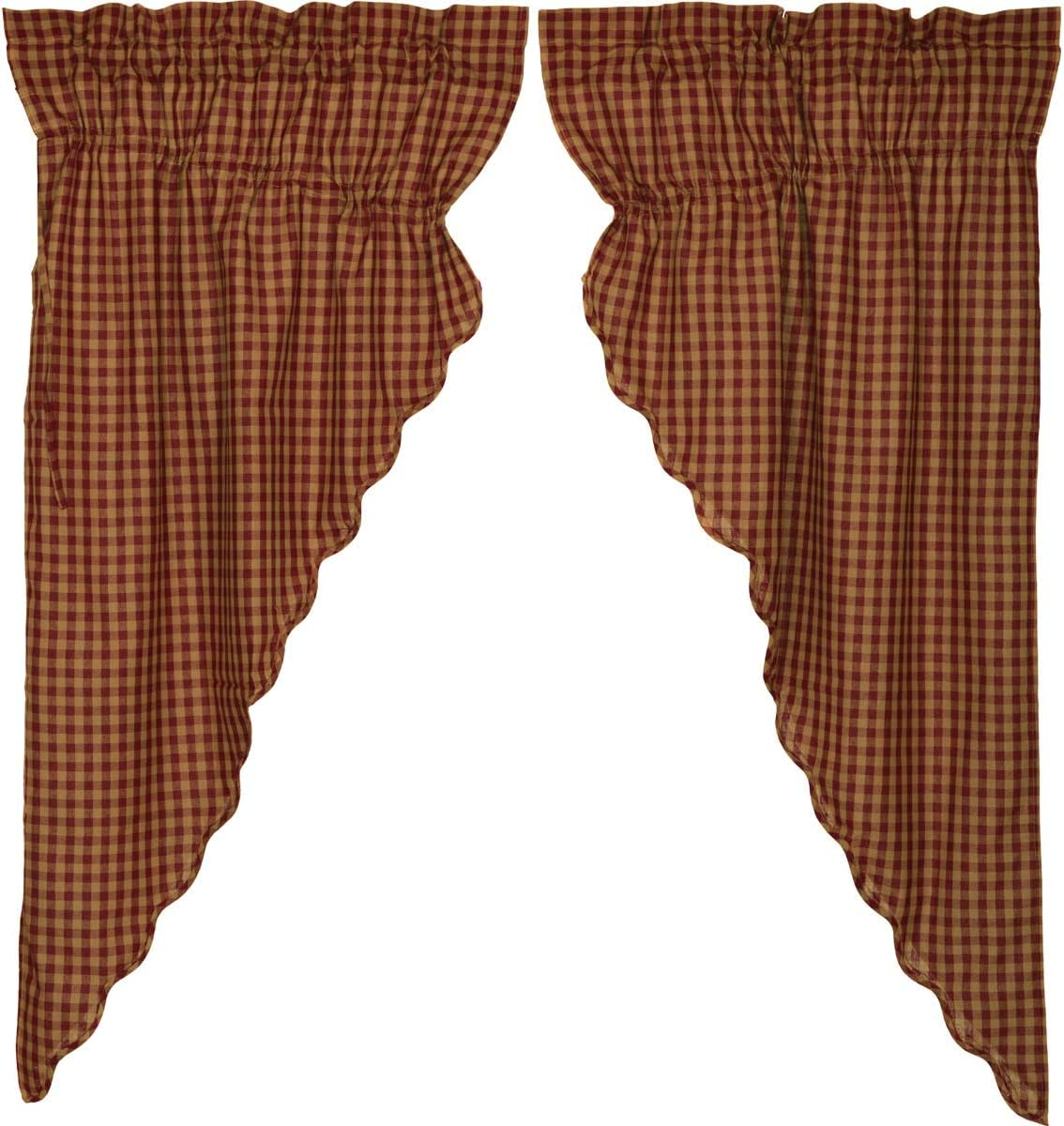 VHC Brands Burgundy Check Scalloped Prairie Short Panel Window Country Set of 2 for Living Dining Room Curtain, Set 63x36x18, Red