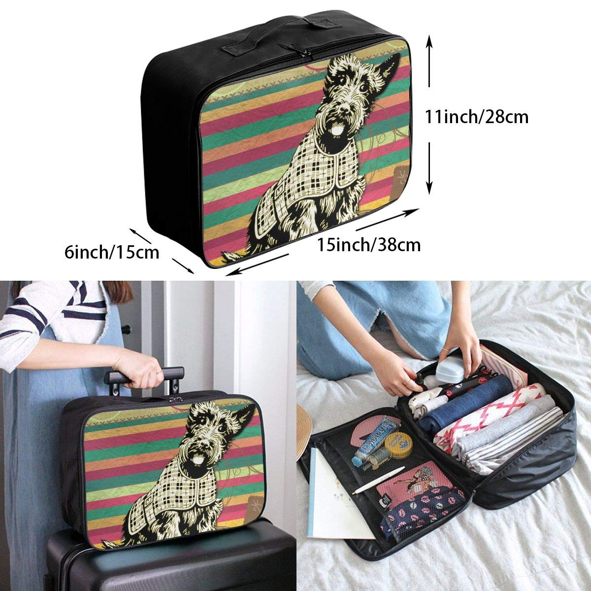 The Dog Looked at You with A Slanted Face Canvas Travel Weekender Bag,Fashion Custom Lightweight Large Capacity Portable Luggage Bag,Suitcase Trolley Bag
