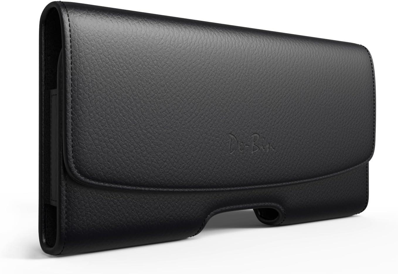 De-Bin iPhone Xs Max Holster, iPhone 8 Plus 7 Plus Belt Clip Case, Premium Leather Holster Pouch Case with Belt Clip for iPhone Xs Max /11 Pro Max /6 Plus/6S Plus/ 7Plus/8 Plus (Fits Phone w/Case on)