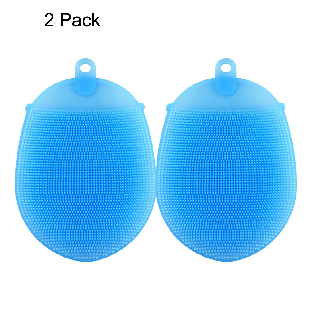 Facial Bath Exfoliating Body Shower Scrub Brush Sponge Set, Silicone Exfoliating Face Back Scrubber Bathing Gloves Cellulite Massagers Lotion Applicators Brushes Sponges for Men and Women AnyBack 2