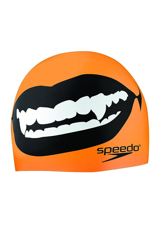 Speedo Elastomericシリコン' Fang Thang ' Swim Cap、オレンジ   B00KRNH45Y