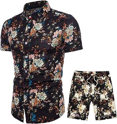 Subfamily Camisa Hawaiana Hombre Collar Botón Slim Camiseta Estampados, Modernas Elegantes Mens Tops Estilo Africano de Hombre Camisas Fiesta + Bermudas M-3XL: Amazon.es: Ropa y accesorios