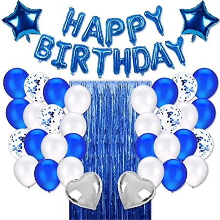 Joyypop Blue Birthday Party Decorations Set With Happy Birthday Balloons Banner Confetti Balloons Foil Fringe Curtain For Birthday Party Supplies Decorations Amazon Canada